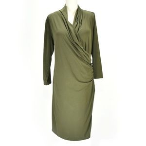 LAUREN RL Forest Green Long Sleeve Faux Wrap Dress